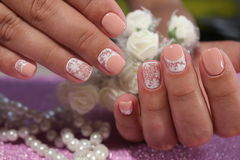 Youth nail design in pastel shades. Manicure Stock Photo