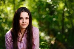 Young freckled green-eyed woman with healthy skin stock photo