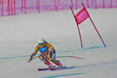 Youth Olympic Games 2012. PATSCHERKOFEL, AUSTRIA - JANUARY 15 Greta Small (Australia) places 11th in the Super-G of the Ladies' Super Combined on January 15 Stock Images