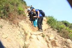 Youth outdoor activities--The conquest of barren hills in GUANGDONG CHINA  ASIA Royalty Free Stock Image