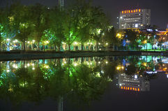 Youth Park (Genclik Parki) in Ankara. With numerous lights at night Royalty Free Stock Photography