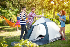 Youth place tent in nature Royalty Free Stock Photo