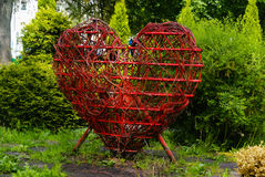 Youth Recreation Park. A red iron heart in the Youth Recreation Park in Kaliningrad, Russia.Wedding parties like to come here Stock Photos