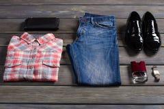 Youth set of men's clothing. Royalty Free Stock Photo