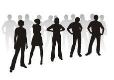 Youth  silhouettes. Black youth silhouettes on white background. Digital illustration Stock Photos