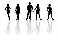Youth silhouettes-2. Black silhouettes of one young man and four girls on a white background Stock Photo