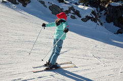Youth skier on the piste Stock Images
