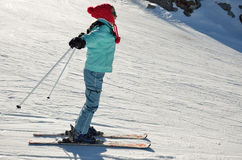 Youth skier on the piste Royalty Free Stock Photography