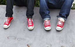 Youth Sneakers. Red and White Sneakers, Youth Royalty Free Stock Photo