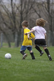 Youth Soccer. Boy and Girl Playing Youth Soccer Royalty Free Stock Photo