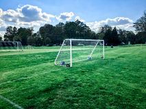 Youth soccer football field goal Royalty Free Stock Images