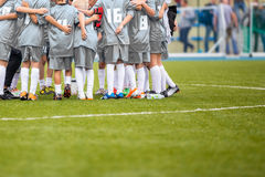 Youth Soccer Football Team Gathering Before The Tournament Final. Match. Coach Giving Team Talk Stock Images