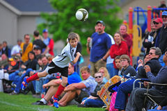 Youth soccer Head ball Royalty Free Stock Images