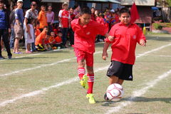 Youth soccer match, in elementary schools. Royalty Free Stock Photography