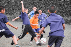 Youth soccer match, in elementary schools. Bangkok thailand Stock Image