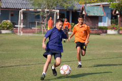 Youth soccer match, in elementary schools. Bangkok thailand Stock Photos