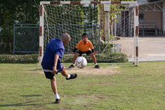 Youth soccer match, in elementary schools. Stock Photos
