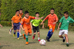 Youth soccer match, in elementary schools. Bangkok thailand Stock Photography