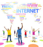 Youth Social Networking and a Word World Map Stock Photos