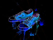 Youth sports shoes on a black background, watercolor, illustrati Stock Image