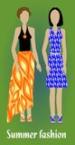 Youth summer fashion, girl silhouettes in modern colorful clothes, fashion design. Vector EPS 10 Royalty Free Stock Photo