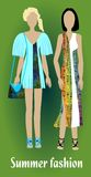Youth summer fashion, girl silhouettes in modern colorful clothes, fashion design. Vector EPS 10 Royalty Free Stock Photography