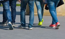 Youth walks, it is a lot of feet Royalty Free Stock Photos