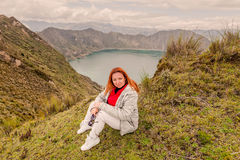 Youth Woman Standing Near Crater Lake Quilotoa, Ecuador royalty free stock photos