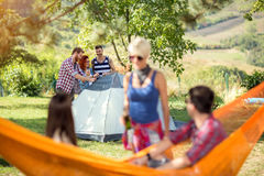 Youth in woods set up tent Royalty Free Stock Image