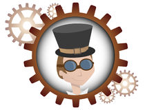 Youthful cartoon steampunk man inside gear Royalty Free Stock Photos