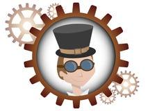 Youthful cartoon steampunk man inside gear. Logo style portrait of young man inside multiple bronze gears Royalty Free Stock Photos