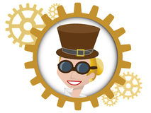 Youthful cartoon steampunk woman inside gear. Style portrait of young woman inside multiple bronze gears Royalty Free Stock Images