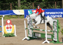 Youthful competitions on concur. RUSSIA, MOSCOW - AUG 8: Sportsmen compete in equestrian sport Youthful competitions on concur August 8, 2009 in Moscow, Russia Royalty Free Stock Photos