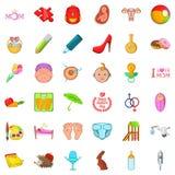 Youthful icons set, cartoon style. Youthful icons set. Cartoon set of 36 youthful vector icons for web isolated on white background Stock Photography