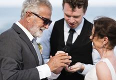 Youthful mature couple getting married at the beach royalty free stock photography