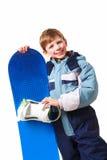 Youthful skateboarder. Portrait of happy boy with skateboard on white background Stock Images