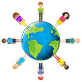 Youths around the globe. On a white background Royalty Free Stock Photo