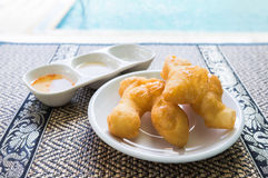 Youtiao Chinese doughnut, eaten in China and other Asian countries. Youtiao Chinese doughnut, fried bread stick, eaten in China and other Asian countries royalty free stock image
