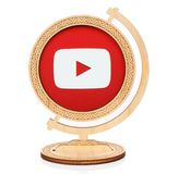 Youtube圈子象被安置入木地球 免版税库存照片