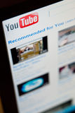 Youtube. Computer screen with Youtube community page. Home page with recommended fresh videos Royalty Free Stock Photo
