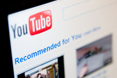 Youtube. Computer screen with Youtube community page. Home page with recommended fresh videos Royalty Free Stock Images