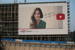 Youtube advertisement. CIRCA AUGUST 2014 - BERLIN: a giant poster on a housefront as an advertisement for the brand Youtube, Berlin Stock Photo