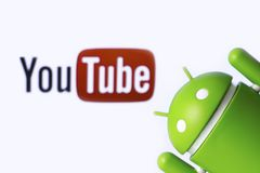 YouTube and Android. YouTube is a free video sharing application. Android is the operating system for smart phones, tablet computers. Chelybinsk, Russia Stock Photos