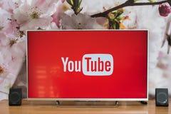 YouTube app op slimme TV van Sony Royalty-vrije Stock Foto