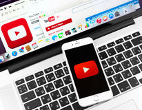Youtube on Apple iPhone 6 device display Royalty Free Stock Photos