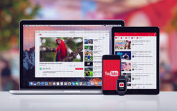 YouTube on the Apple iPhone 7 iPad Pro Apple Watch and Macbook Pro Stock Photos