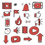 Youtube channel icons lettering set