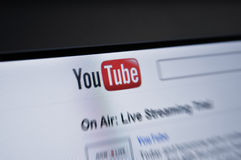YouTube.com main page internet screen. You tube computer screen with start page. You Tube, owned bu Google is one of the world Top 50 most accessed site. Youtube Royalty Free Stock Image