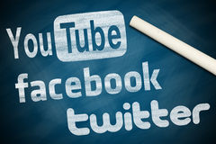 Youtube facebook twitter. Youtube, facebook, twitter on chalkboard with a white chalk Stock Image
