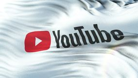 YOUTUBE flag waving on sun. Seamless loop with highly detailed fabric texture vector illustration